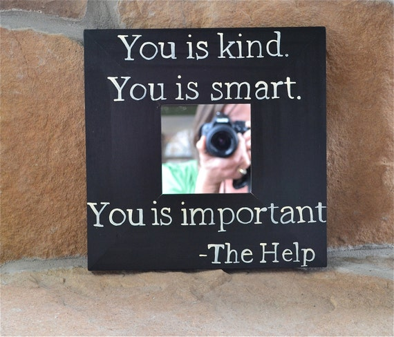 10x10 inch Framed Mirror with Hand Painted Quote, Distressed Black