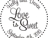 """Love is sweet rubber stamp for DIY candy buffet bags for wedding favors  2 x 2"""" Wood Mount --5494"""