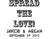 Spread the Love to stamp luggage tag size card stock for wedding favors --5512