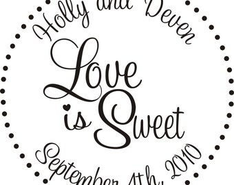 Love is sweet rubber stamp great for DIY personalized candy buffet bags for wedding favors --13020-CB27-000