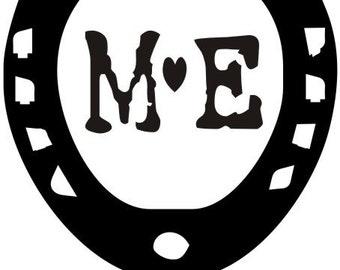 horseshoe custom monogram rubber stamp