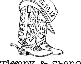 Cowboy boots and hat custom monogram rubber stamp with the date western theme