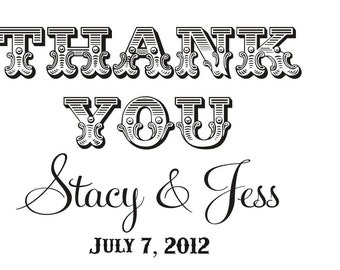 Thank you custom rubber stamp with personalized names great for wedding favors and thank you cards --5500