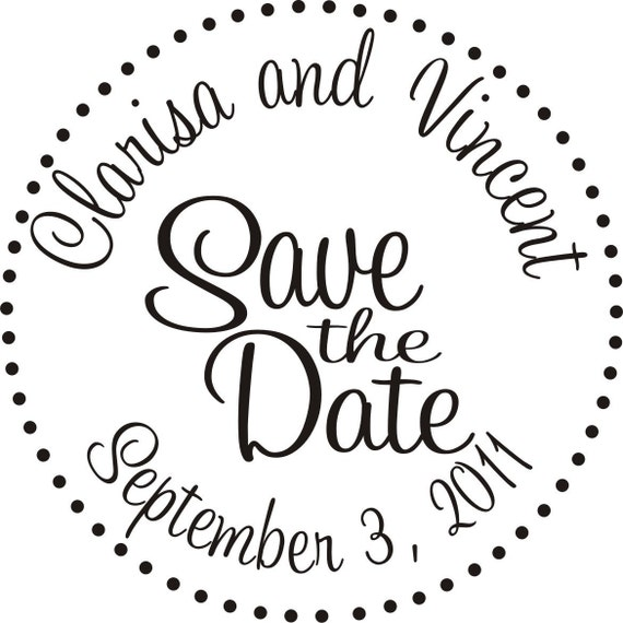 Wedding Save the date rubber stamp for handmade Save the date cards