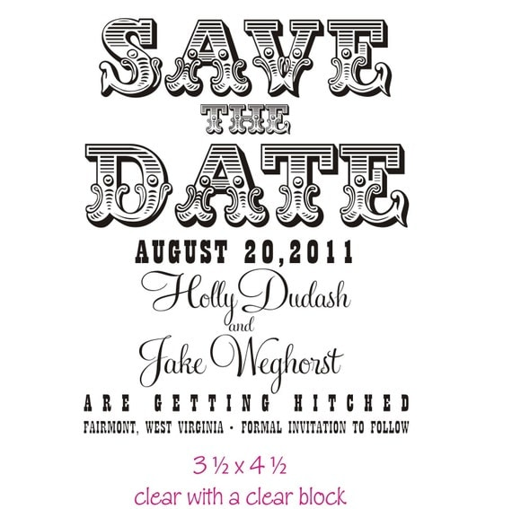 Large custom save the date rubber stamp for Make your own save the dates for your wedding
