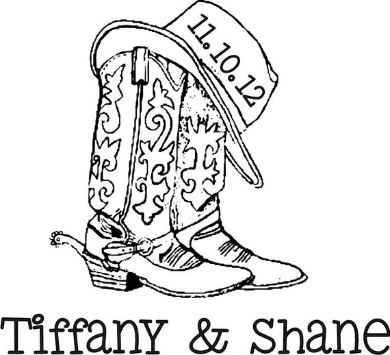Cowboy Boots And Hat Custom Monogram Rubber Stamp With The