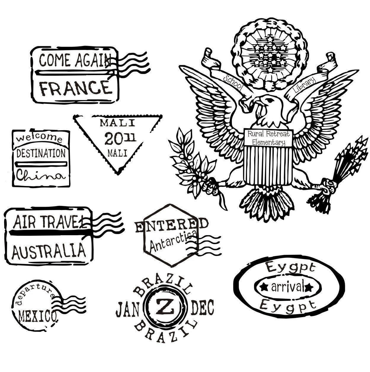 Custom listing for 27 passport stamps for kimberlynyny