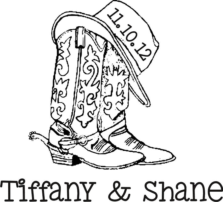 Items similar to Cowboy boots and hat custom monogram ...