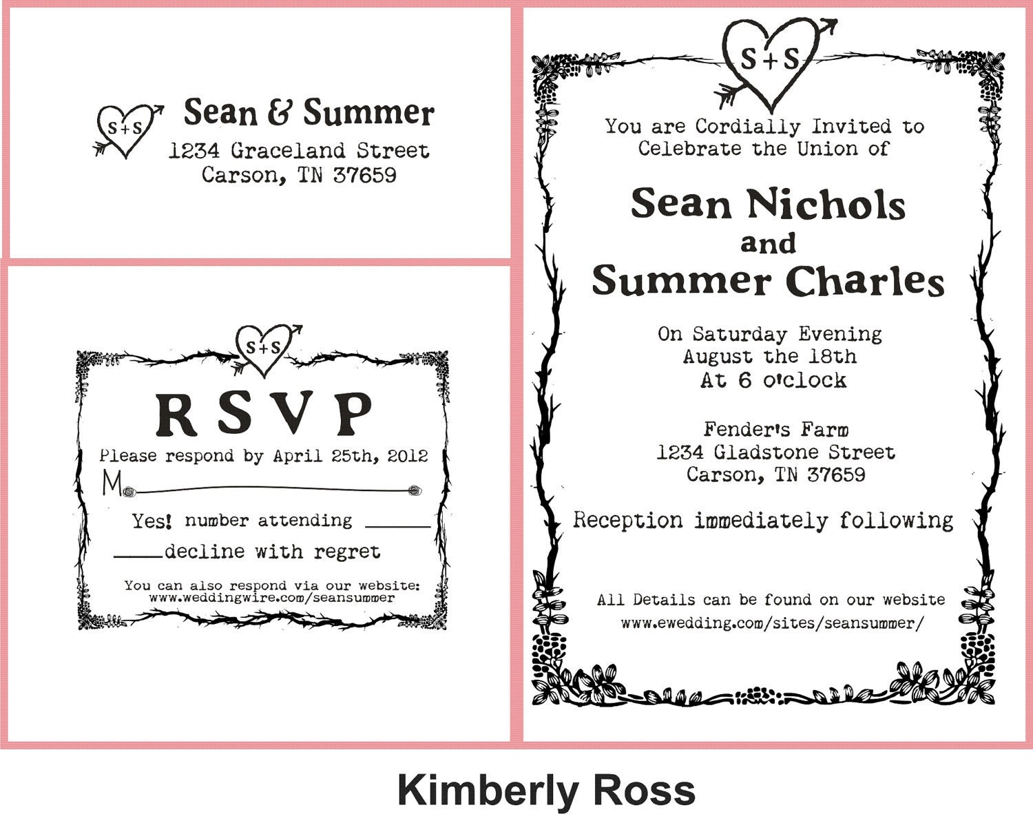 Wedding Invite Stamp: Wedding Invitation Rubber Stamp With Typewriter Font And