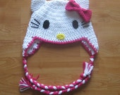 Hello Kitty Ear Flap Hat - Hot Pink - Newborn to Adult Sizes