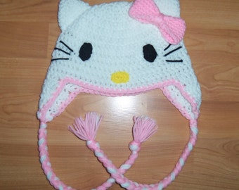 Hello Kitty Ear Flap Hat - Light Pink - Newborn to Adult Sizes