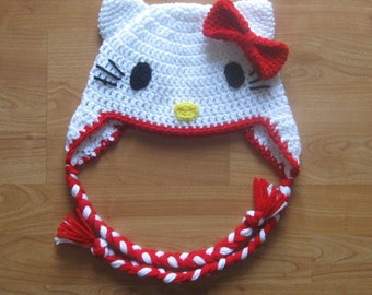Hello Kitty Ear Flap Hat - Red - Newborn to Adult Sizes