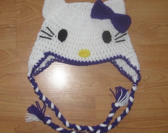 Hello Kitty Ear Flap Hat - Purple - Newborn to Adult Sizes