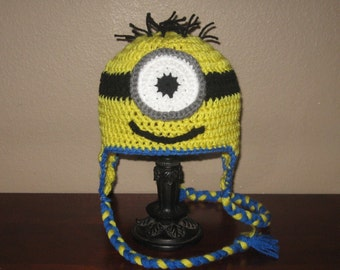 One-Eyed Minion Ear Flap Hat - Adult to Newborn Sizes