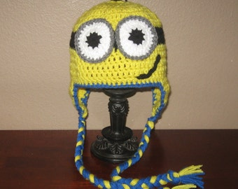 Two-Eyed Minion Ear Flap Hat - Adult to Newborn Sizes
