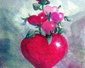 Heart Flowers in Heart Vase aceo 2.5x3.5 inch Oil Painting