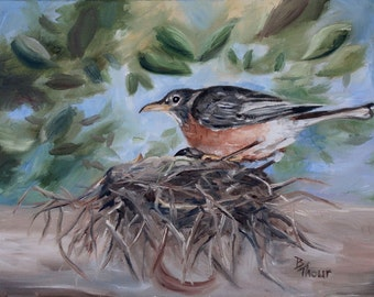 Robin on Nest Bird Original 9x12 inch Oil Painting