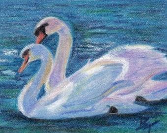 Swan Lake Original aceo 2.5x3.5 Inch Drawing