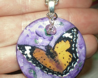 Butterfly Purple Pendant Hand Painted