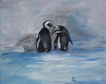 Penguins Original Oil 8x10 inch Oil Painting