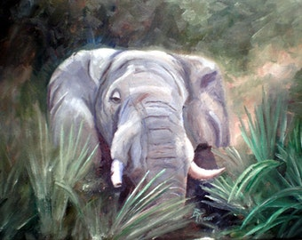 Elephant Portrait ORIGINAL12x16 Oil Painting