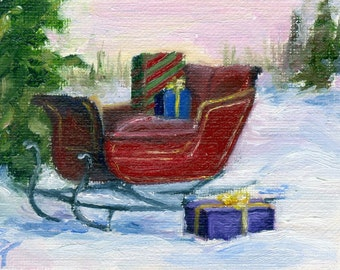 Red Christmas Sleigh aceo Original 2.5x3.5 Inch Oil Painting
