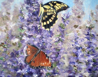 Butterfly Garden Original 9x12 inch Oil Painting