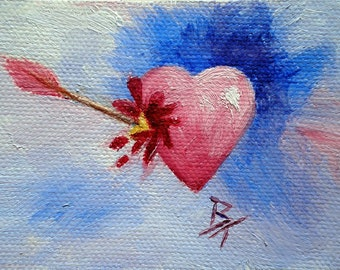Piercing Heart aceo Original Oil Painting