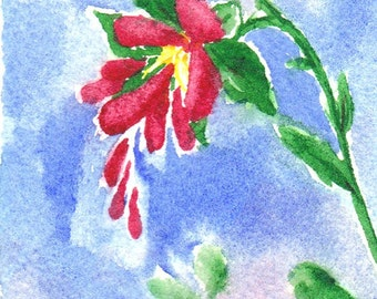 Red Love Flower aceo Original watercolor