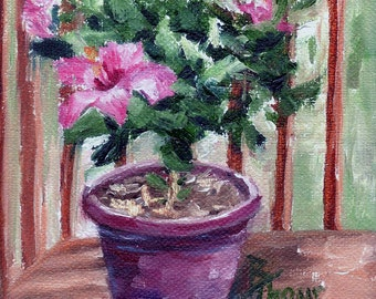 Hibiscus Original Oil Painting 4x4""