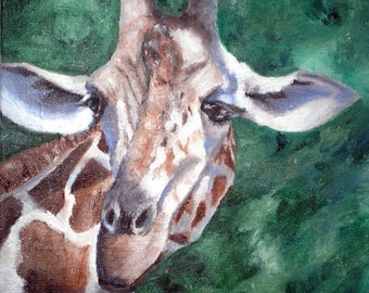 Giraffe Original Oil Painting 8x10