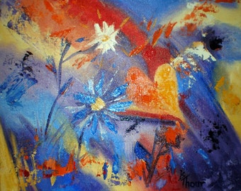 """Heart and Flowers Abstract Original 8""""x10"""" Oil Painting"""