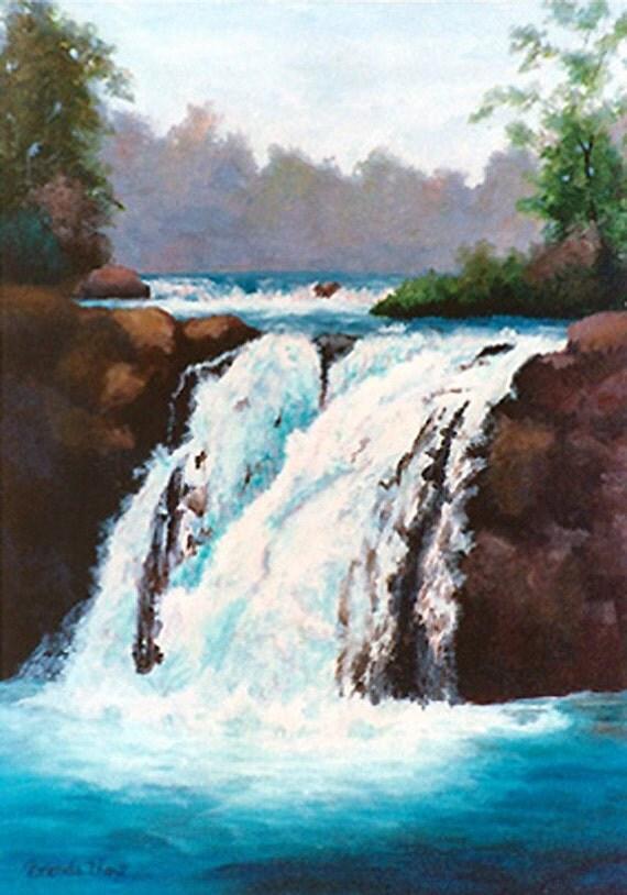 Fresh Waterfalls Original Painting