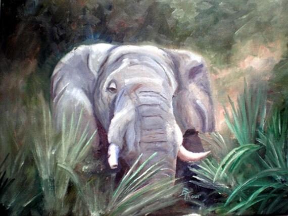 Elephant Portrait ORIGINAL12x16 Oil Painting