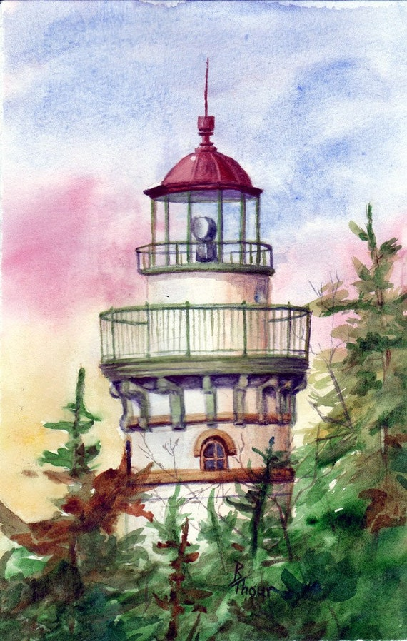 Lighthouse Original 5x8 inch Watercolor Painting