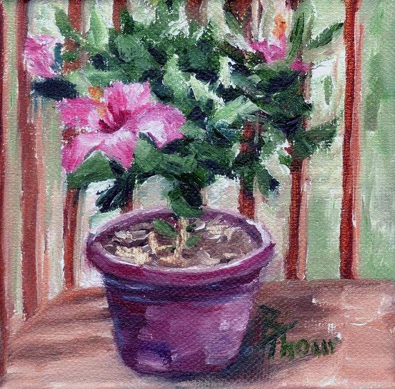 """Hibiscus Original Oil Painting 4x4"""""""