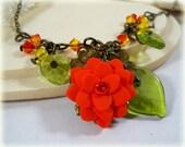 Orange Lotus Pendant Necklace