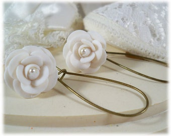 White Camellia Pearl Lightweight Drop Earrings or Dangle Earrings Style