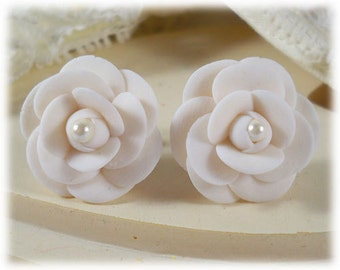 White Camellia Pearl Earrings Stud or Clip On - Camellia Jewelry, Camellia Flower, Japanese Rose