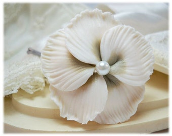 Hibiscus Bridal Hair Clip Pin - Hibiscus Wedding Hair Flower