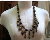 Labor Day SALE Vintage Tribal Glass Bead Bold Necklace Large Heavy BOHO Fall Colors Autumn Aurora Borealis Finish
