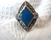 Vintage Sterling Ring Art Deco Design Marcasites Prussian Blue