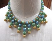 Vintage Bib Necklace Blue and Green w Gold Gilt Beads Style Egyptian Flavor
