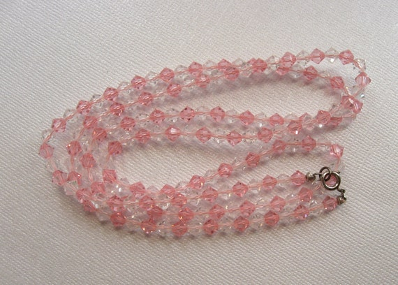 Vintage Swarovski Crystal PINK Necklace Small Bicones 30 inch Long Beads