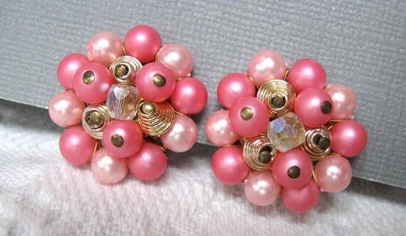 Vintage Pink Earrings JAPAN 1950s Clip Backs Beaded Clusters Pretty
