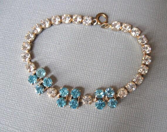 Vintage Rhinestone Bracelet Faux Diamonds and Soft Turquoise Glass Very Pretty