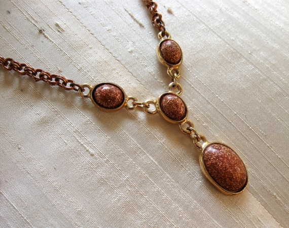 Vintage Goldstone Necklace Great Look on Copper Double Link Chain 1950s era Gold Stone