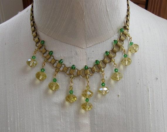 Art Deco Necklace Bookchain Style Lemon Lime Luscious Color Beads Great Design