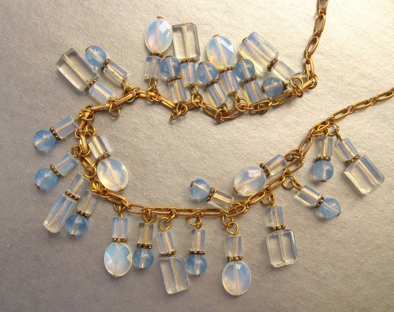 Vintage Opal Bead Necklace Opalescence Great Colors and Form Pretty Gold Chain