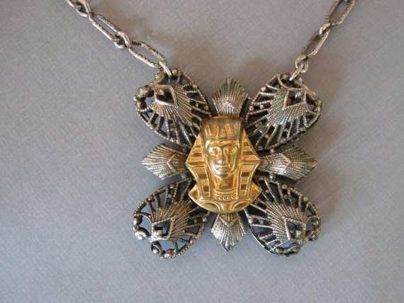Egyptian Pharoah Pendant Necklace Mixed Metals Vintage 1930s